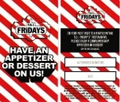 TGI Friday's FREE Appetizer or Dessert Voucher Click4BULK$