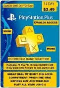 PlayStation Plus PS4 PS3 Vita 14-Day Membership UNLIMITED USE