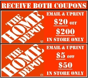 $20 off $200 HOME DEPOT + $5 off $50 Emailed Use in Store Only.