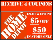 $ HOME DEPOT Emailed $5 off $50 Use in Store x4 Coupons