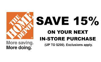 $ Home Depot 15% Off max saving $200 Emailed > Use In Store Only