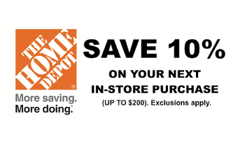 Home Depot 10 Off Max Saving 200 Emailed Use In Only
