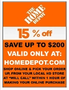 $ 15% OFF HD UprintB SAVE $200 Email 5 DAY EXP HomeDepot.com